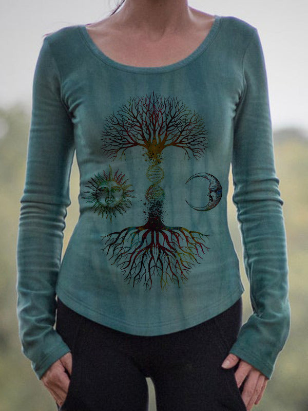 Ladies retro tree of life sun and moon print long sleeve T-shirt