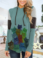 Load image into Gallery viewer, Women's Casual Cat Print Long Sleeve Hoodie