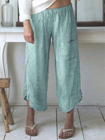 Load image into Gallery viewer, Women's Plus Size Cotton and Linen Large Pocket Striped Pants