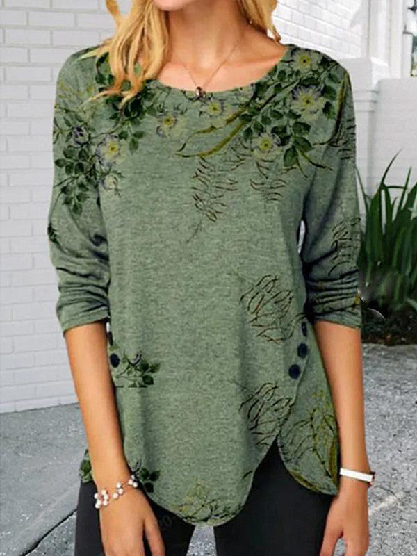 Loose green print long sleeve top
