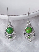 Load image into Gallery viewer, Vintage Inlaid Green Turquoise Earrings