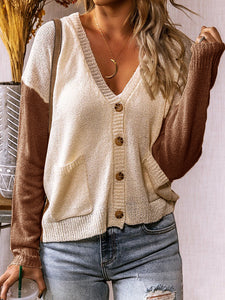 Color Block Knitted Cardigan Button Down Jacket