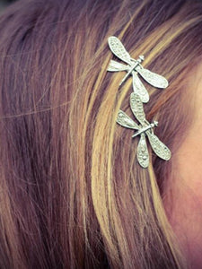 Antique silver retro dragonfly hairpin Liu seaside clip