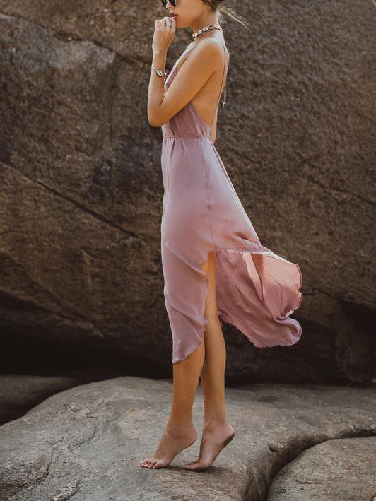 Women's Sexy Backless Cotton and Linen Holiday Dress
