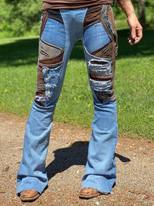 Ladies Vintage Stitching Ripped Blue Leggings