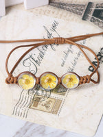 Load image into Gallery viewer, Hand-woven rope daffodil crystal glass bracelet