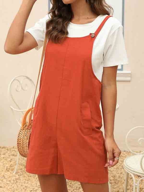 Cotton and linen loose overalls jumpsuit shorts