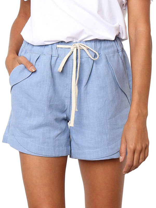 Women's cotton and linen drawstring elastic waist casual shorts