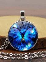 Load image into Gallery viewer, Blue Butterfly Time Gem Necklace