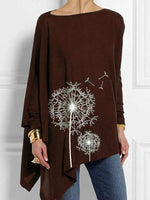 Load image into Gallery viewer, Dandelion Print Asymmetrical Hem Long Sleeve T-Shirts