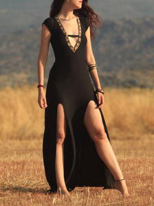 Sexy Vintage Tribal Lady in Black Dress