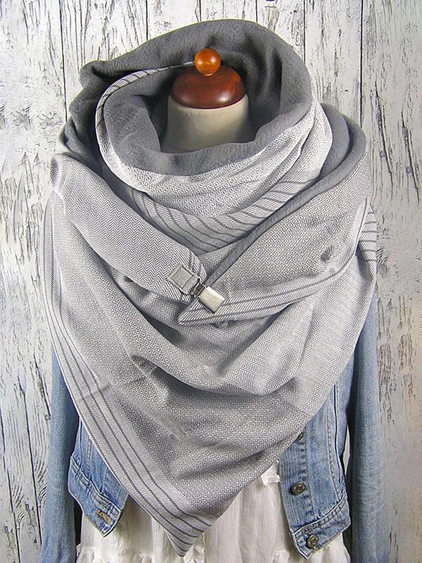Striped Cozy Button Down Fluffy Scarf