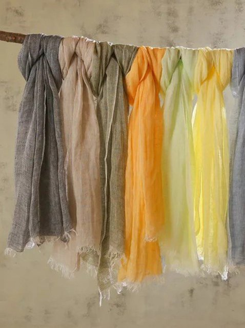 Women's solid color linen scarf & sun protection shawl