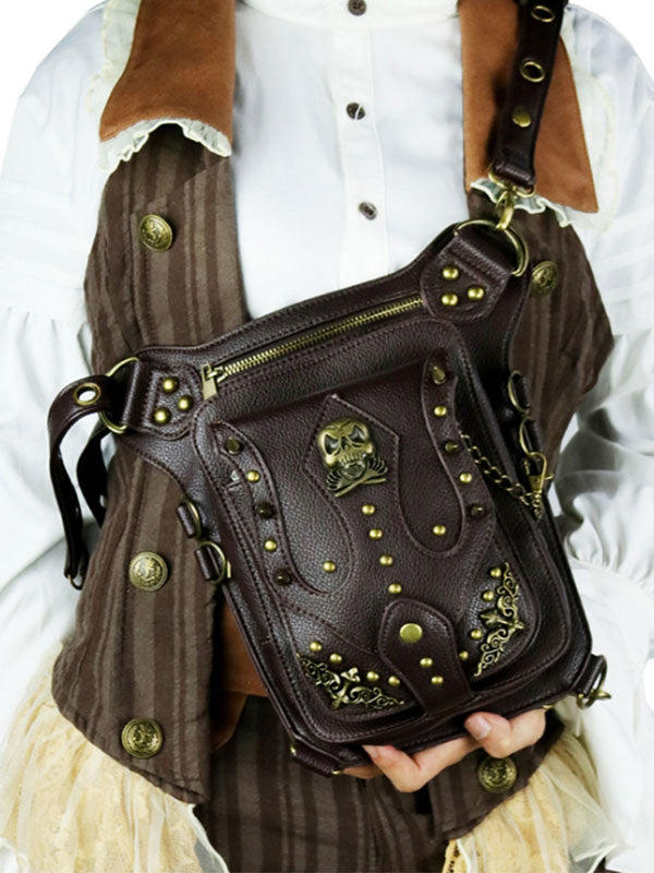 Women's Vintage Studded Multifunctional Shoulder Crossbody Bag