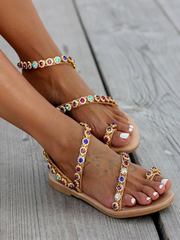 Women's Flower Color Diamond Flat Open Toe Beach Sandals