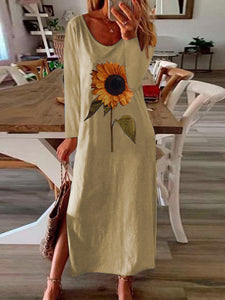 Women's sunflower print side slit long sleeve dress