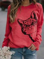 Load image into Gallery viewer, Women's Hide and Seek Cat Print Sweatshirt