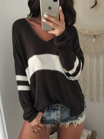 Load image into Gallery viewer, Striped Stitching Short Front And Long Back V-Neck Sweater