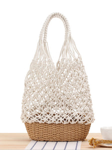 Women's hand-woven open shoulder bag