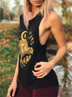 Load image into Gallery viewer, Women's Vintage Gold Printed Organic Cotton Tank Top
