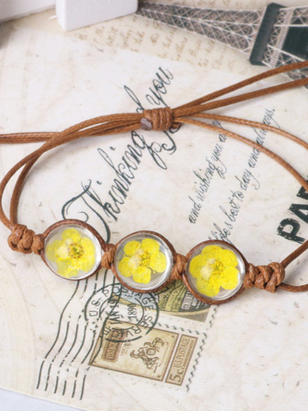 Hand-woven rope daffodil crystal glass bracelet