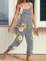 Load image into Gallery viewer, Women's Denim Floral Daisy Print Jumpsuit Bib