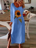 Load image into Gallery viewer, Women's sunflower print side slit long sleeve dress