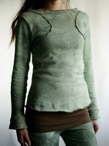 Women's Vintage Dyed Organic Cotton Long Sleeve Top