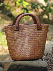 Ladies vintage hand-woven bucket bag