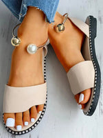 Load image into Gallery viewer, Women's Simple Open Toe Pearl Buckle Roman Sandals
