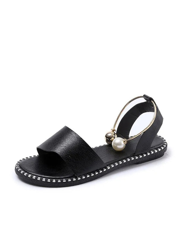 Women's Simple Open Toe Pearl Buckle Roman Sandals