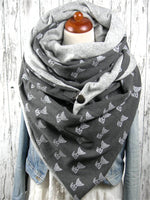 Load image into Gallery viewer, Cartoon Fox Print Cozy Button-Down Fluffy Scarf