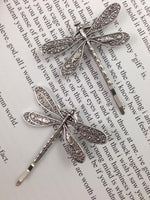 Load image into Gallery viewer, Antique silver retro dragonfly hairpin Liu seaside clip