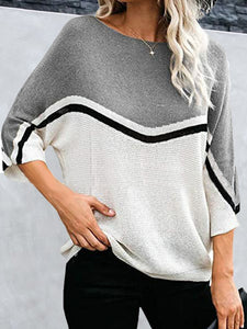 Striped Stitching 3/4 Sleeve Casual Sweater