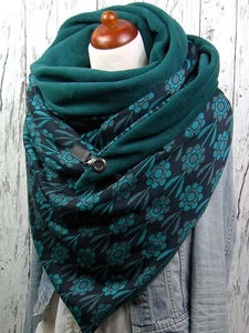 Plant Flower Print Thick Triangle Scarf