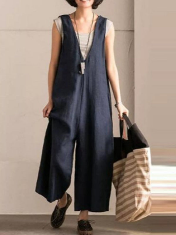 Women's loose cotton and linen pocket jumpsuit