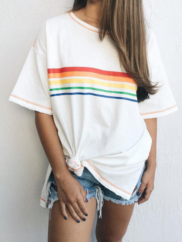 Turtleneck crew neck loose-fitting rainbow stripes stitching printed women's T-shirt