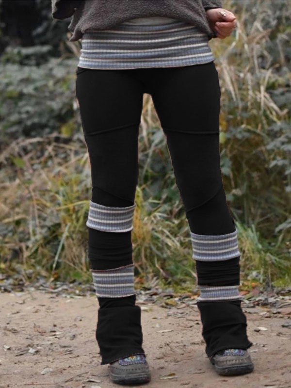 Women's Retro Stitched Double-layer Thick Elastic High-Waist Leggings