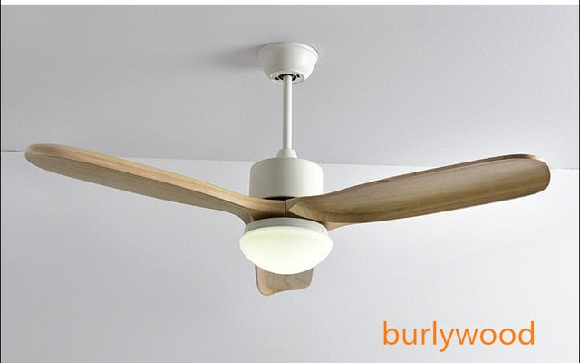 Nordic Vintage Concise Wood LED Ceiling Fans With Lights Loft Living Room Restaurant Cafe Modern Ceiling fan With Remote Control