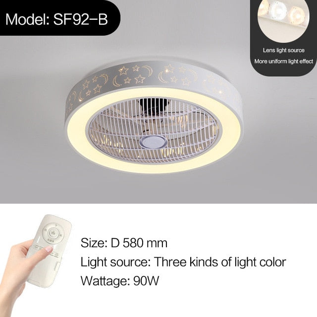 LED remote control ceiling fan with light invisible fans 58cm home lighting circular round