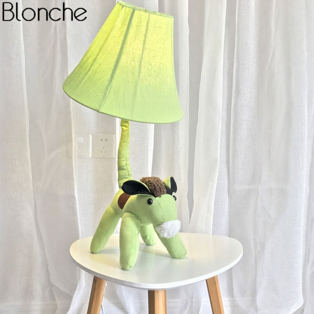 Modern Cartoon Animal Floor Lamp for Children's Kids Room Bedroom Fabric Lamp Shades Stand Led Standing Light Fixture Home Decor