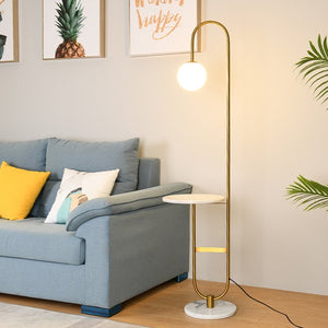 Modern Floor Lamp LED Standing Lamp With Round Table Art Deco Living Room Sofa Reading Lights Hotel Bedroom Bedside Lights