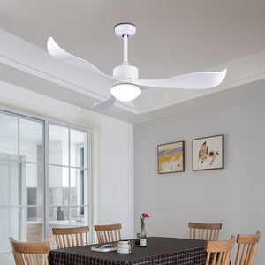 Modern Wood Grain 3 ABS Blades Fan Lamp Energy Saving  Light 52inch 110v 220v Led Balck Ceiling Fans with Remoto Control
