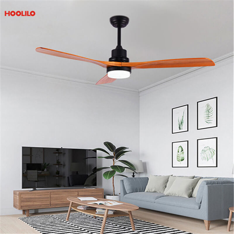 HOOLILO New Arrival Modern Natural Paint Black Wood Spray Color Blade Decorative LED Ceiling Fan Light 110V 220V 52inch Classic
