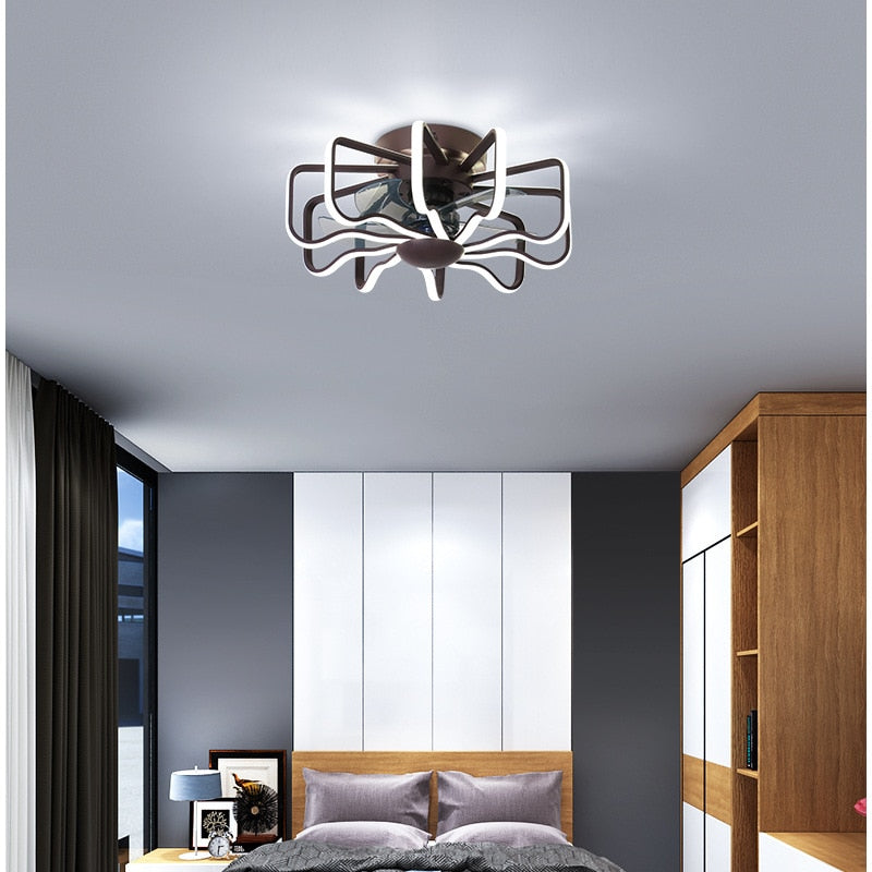 Nordic creative bedroom restaurant fan lamp led home Ceiling fan with light Golden White Black Copper motor LED Fan light