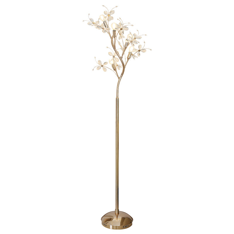 European Led Vertical Floor Lamp Creative Personality Designer Tree Floor Lights Ceramic Flowers Decor Crystal Standing Lamp