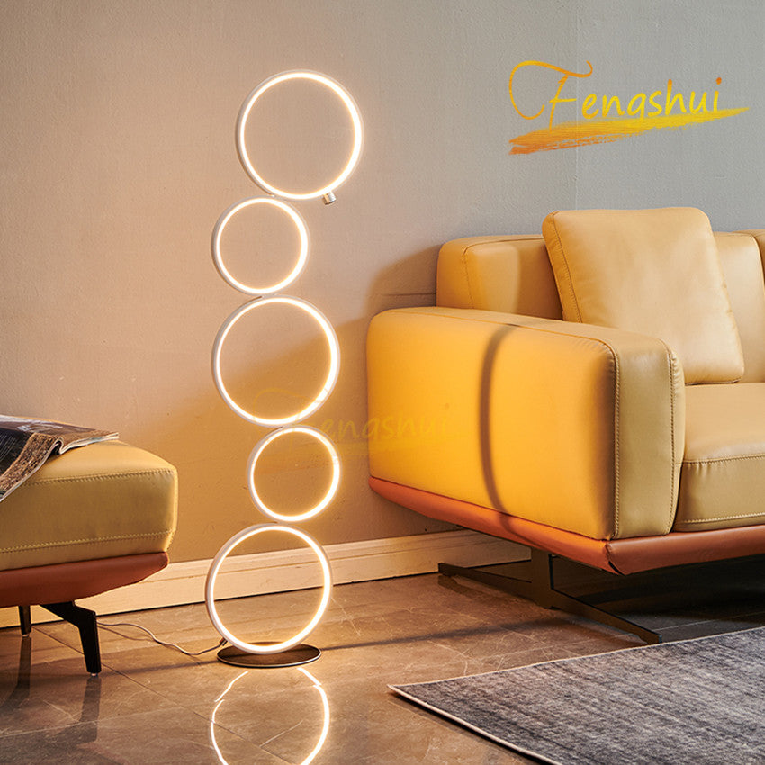 Modern LED Floor Lamp Nordic Simple Creative Ring Floor Lights Touch Switch Stand Lamp for Indoor Lighting Decoration Floor Lamp