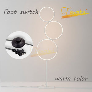 Postmodern LED Circle Floor Lamp Fixtures Nordic Ring Floor Lights Touch Switch Stand Lamp Indoor Bedroom Bedside Decor Lighting