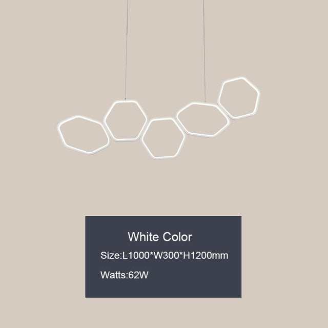 NEO Gleam Minimalism Modern LED Chandelier for Dining Kitchen Room Living Room White or Coffee Color Hanging Chandelier Fixtures