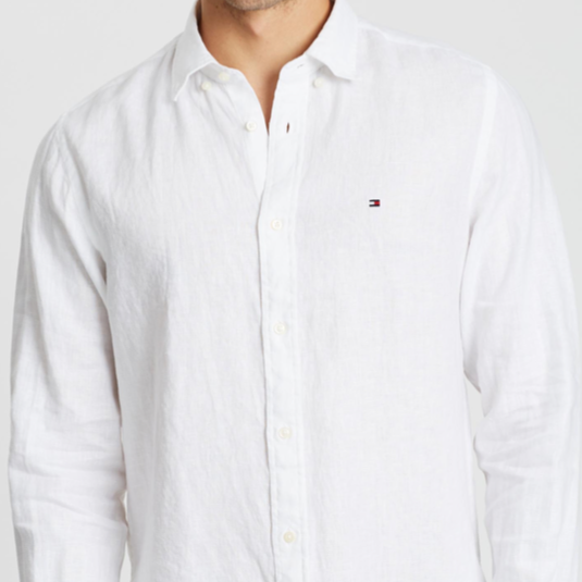 Tommy Hilfiger - Tommy Hilfiger Solid Linen Shirt - Bright White